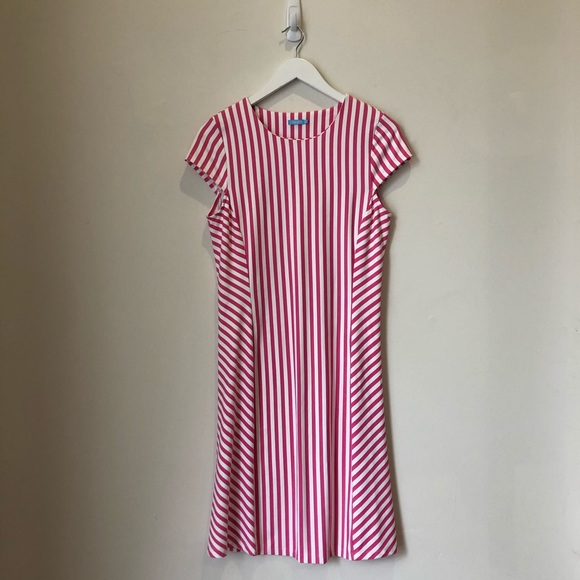 J. McLaughlin Pink and White Striped Helen dress